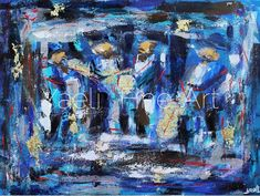 Blue and gold always make a great combination. It's an abstract piece of musicians. The gold drum is the focal point of the painting. There is something about this painting...it's very special. Muscians, blue abstract painting.