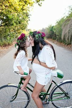 She, her daughter and baby kiss to each other.