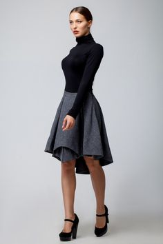 Dark Grey skirt pleated ,Winter  knee length assymetrical skirt women's. by FashionDress8 on Etsy https://www.etsy.com/listing/215179415/dark-grey-skirt-pleated-winter-knee