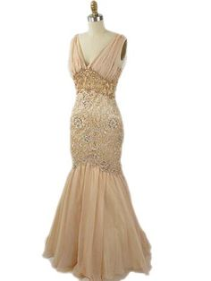 Vintage Inspired Champagne Lace Chiffon Mermaid Gown  #VintageStyleGown #OldHollywoodStyleGowns  #mermaidgown