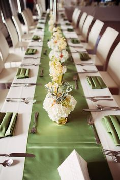 Chic green table runner and floral arrangements.   Photo by Kevin Paul Photography. www.wedsociety.com  #wedding #tables