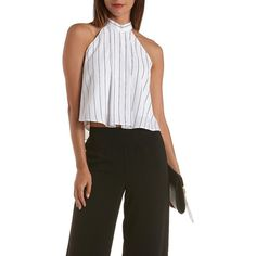 Charlotte Russe White/Black Striped Mock Neck Swing Crop Top by... ($20) ❤ liked on Polyvore