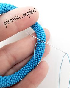 I was asked how I sewed the bracelets I knit. Bead Crochet Patterns, Bead Crochet Rope, Beaded Jewelry Patterns, Bracelet Patterns, Rope Jewelry, Rope Necklace, Necklace Types, Fabric Jewelry, Handmade Beads