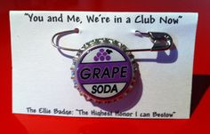 Up Ellie Badge Grape Soda Pin Disney Pixar Bottle cap by MyHoard, $2.50...Party Favors:)