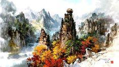 (North Korea) 귀면암 in Mt. Geumgang by Mun Jeong-ung (1944- ).