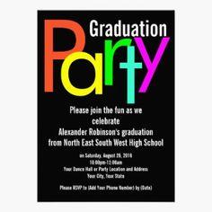 Bright neon fluorescent and festive graduation Party Invitation