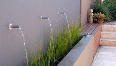 Skinny water feature for entrance path? Modern Landscape Design, Landscape Plans, Green Landscape, Modern Landscaping, Contemporary Landscape, Landscaping Plants, Hydrangea Landscaping, Landscaping Edging, Landscaping Software