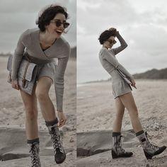 Bellevior  Crossover Dress, Black Aj Bella Lace Boots, Fabrix Cases  Satchel 2.0 13