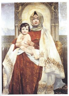 Vardges Surenyants (Armenian): Madonna with Child Divine Mother, Blessed Mother Mary, Blessed Virgin Mary, Religious Images, Religious Icons, Religious Art, Madonna Art, Madonna And Child, Images Of Mary