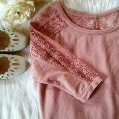 """American Eagle Lace Shoulder Top Three-quarter length sleeves. Dusty pink color. Lace shoulder and sleeve detail.  Length from shoulder to hem 20"""".  Sleeve length 15"""".  Bust (across) 18.25"""" Excellent condition.   Size S American Eagle Outfitters Tops"""