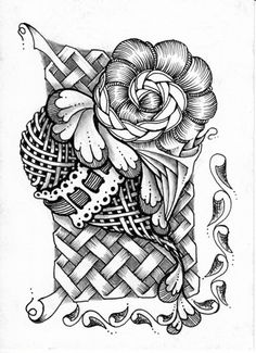 Zentangled Heart - from the Sinister Scribe's blog - she says the vine in the lower right is not a zentangle... it certainly is - it just hasn't been named yet!  Amazing!