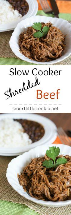 Slow Cooker Shredded Beef   SmartLittleCookie.net