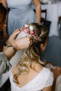 Bridal Half Up Half Down Do with Flowers | Rural Wedding in a Sailcloth Tent on Stanford Hall Estate, Northamptonshire | Rebecca Goddard Photography | wedding hair | wedding hair ideas #weddinghair