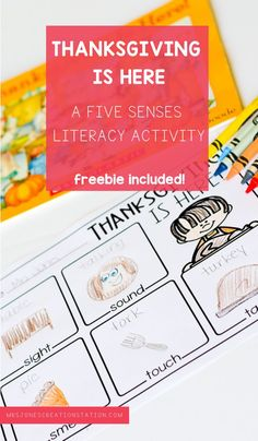Thanksgiving brings on all of our five senses. Read this great Thanksgiving book and get this FREE five senses printable to use with your pre-k and kindergarten classes! #thanksgiving #fivesenses #kindergarten #prek #kindergarten