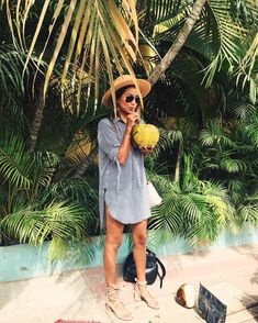 Vacation vibes, hopefully this will be me this year! sippin' on a giant coconut in Sayulita (& wearing ) Hawaii Outfits, Cruise Outfits, Vacation Outfits, Summer Outfits, Beach Outfits, Travel Outfits, Hawaii Pictures, Faithfull The Brand, Designer Swimwear