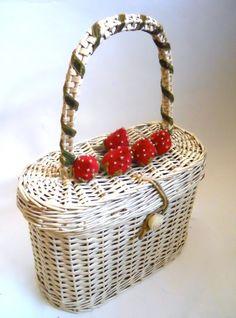 1960s white wicker basket bag with beaded velvet strawberries, DCV