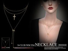 Necklace F 201810 by S-Club from TSR for The Sims 4