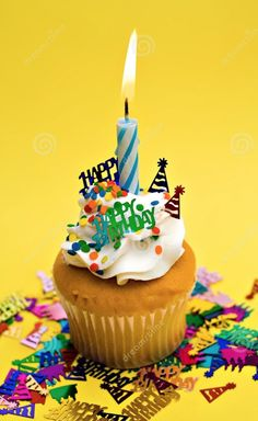 Photo about Birthday party cupcake on yellow background. Image of frosting, treat, flame - 2426939 Happy Birthday Bouquet, Happy Birthday Quotes For Friends, Happy Birthday Wishes Images, Birthday Wishes For Friend, Birthday Wishes Messages, Birthday Blessings, Birthday Greetings, Birthday Goals, Daddy Birthday