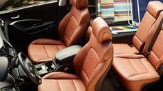 Full shot of Saddle leather interior Hyundai Cars, Hyundai Vehicles, Hyundai Dealership, Hyundai Santa Fe Sport, Wallpaper Iphone Love, Sports Gallery, Sport 2, Saddle Leather, Digital Trends