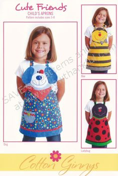 ON SPECIAL.Cute Friends Aprons (children's) apron sewing pattern from Cotton Ginnys Childrens Apron Pattern, Child Apron Pattern, Childrens Aprons, Sewing Crafts, Sewing Projects, Sewing Aprons, Kids Apron, Kitchen Aprons, Cute Friends