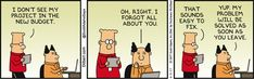Dilbert's Project Is Unfunded  - Dilbert by Scott Adams