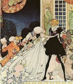 """""""The Twelve Dancing Princesses""""..... illustration by Kay Rasmus Nielsen, (March 12, 1886 – June 21, 1957)  Danish illustrator. Wikipedia says he did work on the """"On Bald Mountain"""" part of """"Fantasia."""".....image source is Artistsandart.org"""
