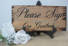 Rustic Wedding Sign Please Sign Our Guestbook Ceremony Reception Gift Table Guest book Country Barn style weddings