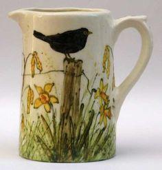 Jenny Bell pottery jug - Bird on Fence, Spring