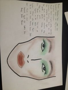 Image 53- This was my first face chart but found once I had begun my research and the path I wanted to go down, I found that the colours are far too dark, the colours haven't picked up well on camera but there is also a bold contour that would look good in the sun light but I think for a more natural look would be too much.