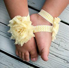 20%OFF .. Baby Barefoot Sandals .. Yellow Flower on Chevron Elastic .. Toddler Sandals .. Newborn Sandals on Etsy, $6.50