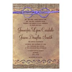 Rustic Country Vintage Wedding Invites Purple Bow