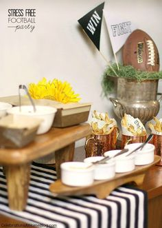 Host a stress free football party, or homegaiting party with these tips and inspirational images.