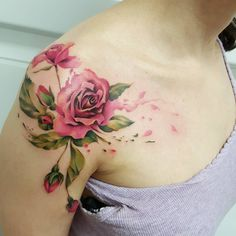 Floral tattoo #jemkatattooart #watercolourtattoo #tattoo #eternalinks #abstractart #torasumi #inkedgirl #injecta #floral #rosetattoo