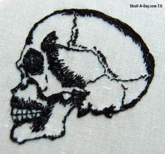Anatomical Skull Embroidery by Enid Twiglet