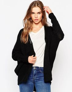 Vero Moda Long Line Cardigan With PU Trim at asos.com