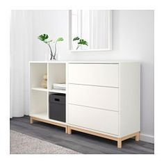 IKEA - EKET, Kaappi+jalat, valkoinen, , Avointa ja umpinaista säilytystilaa sekä tavaroiden esittelyyn että piilottamiseen.Laatikoissa on kiinteät avausmekanismit, joiden ansiosta ne aukeavat pelkällä kevyellä painalluksella.
