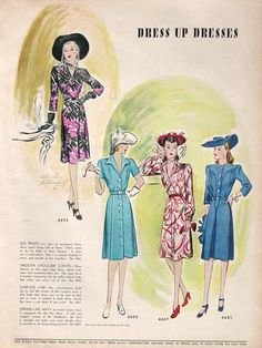 1942 McCalls Sewing Patterns Ad - Dress Up Patterns Ad - 1940s Women's Fashion Sketch - V Neck Dress Style - Sewing Ideas Inspiration