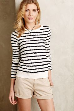 Stripewise Pullover - anthropologie.com - black and white striped crewneck sweater