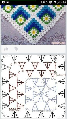 Discover thousands of images about Crochet motif chart patterncrochet square pattern Crochet Bedspread Patterns Part 17 - Beautiful Crochet Patterns and Knitting Patterns - Crochet Bedspread Patterns Part Granny Square Rose SThis Pin was di Crochet Bedspread Pattern, Granny Square Crochet Pattern, Crochet Flower Patterns, Crochet Diagram, Crochet Chart, Crochet Squares, Crochet Blanket Patterns, Crochet Motif, Crochet Designs