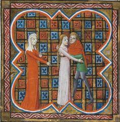 14th century (1353) France - Paris. Bibliothèque de Genève. Français 178: Le Roman de la Rose by Guillaume de Lorris and Jean de Meun. fol. 3r - allegory of Envy(?)  http://www.e-codices.unifr.ch/en/list/one/bge/fr0178