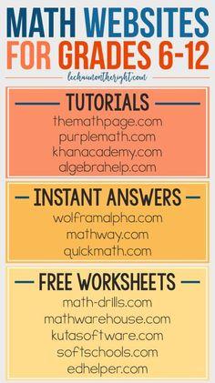 Free Math Websites for Grades 6-12 - great for homeschool math #STEM #education…