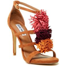 Steve Madden Savannna Heel Sandal (€56) ❤ liked on Polyvore featuring shoes, sandals, heels, bright mult, ankle tie sandals, pom pom sandals, steve madden shoes, strap sandals and strap heel sandals
