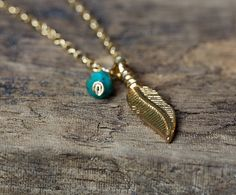 FEATHER NECKLACE Feather Charm Necklace by AlisonStorryJewelry $30.00