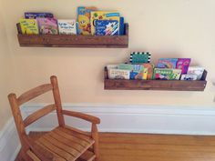 Charming handmade pallet wood bookshelves!  Each measures 27 long, 5 1/2 high, and 3 1/2 deep. (Approximate dimensions) Perfect for childrens