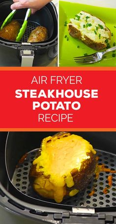 Quick Baked Potato, Baked Potato Recipes, Baked Potatoes, Air Fryer Recipes Easy, Quick Recipes, Air Frier Recipes, Air Fried Food, Vegetarian Recipes, Vegetarische Rezepte