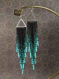 Beaded earrings Turquoise earrings Emerald and Black color Tassel earrings Seed beads earrings Gift for her Boho style Native American Gifts Perlen Ohrringe Türkis Ohrringe Smaragd und schwarz Farbe Seed Bead Jewelry, Seed Bead Earrings, Diy Jewelry, Beaded Jewelry, Handmade Jewelry, Jewelry Making, Beaded Bracelets, Hoop Earrings, Seed Beads