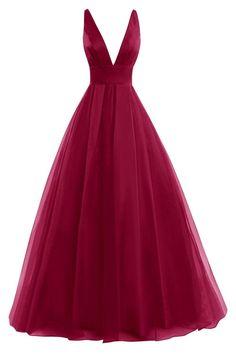 L41 Burgundy V-Neck Prom Dresses,A-Line Prom Dresses,Chiffon Evening Gowns,Backless Prom Dresses