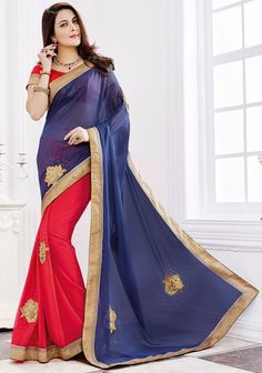 Enticing Electric Pink and Navy Blue #Saree