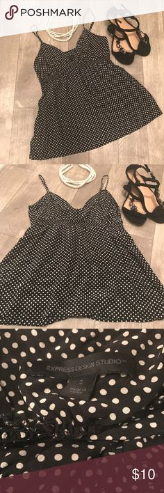 Express 100% Silk Polka Dot Tank Excellent condition! 100% Silk. Express Tops Camisoles