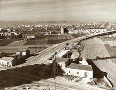 Avenida de Catalunya en el año 1966, en la parte inferior el cruce de la avenida de Primado Reig a la  calle Gorgos, las cámaras Beccari...